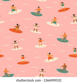 Kids surfing seamless pattern. Children surfers catching waves in the ocean illustration in vector.