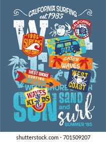 Kids surfing team West coast California, grunge vector print for children wear with embroidery patches