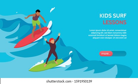 Kids surfschool lessons coaching supervision isometric horizontal landing page banner with children surfing in waves vector illustration