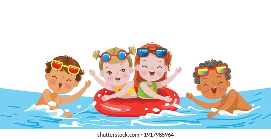 kids swimming. Children play with a group of friends in the summer.