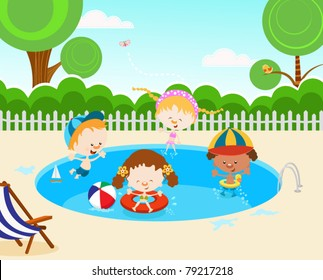 Kids In The Swimming Pool