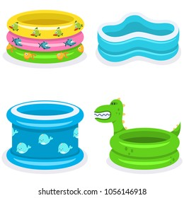 Kids swimming pools vector cartoon flat icons set isolated on white background.