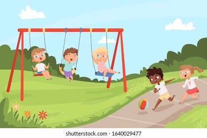 Kids swing rides. Outdoor happy walking and playing childrens nature camp vector cartoon background
