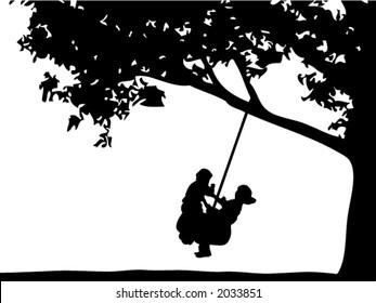 Kids Swinging on a Tire Swing
