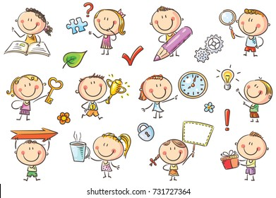 Kids with symbols like arrow, key, puzzle, magnifier and so on to draw attention to some points in your project or to emphasize something. No gradients used, easy to print and edit.