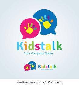 Kids Talk Vector Logo Template.