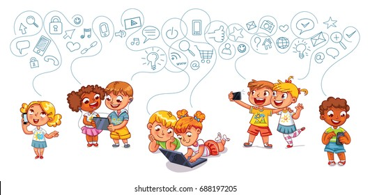 Kids talking on the phone. Boy is getting SMS. Boy and girl with laptop. Children play on tablet. Kids to make selfie together with mobile device in hand. Funny cartoon character. Vector illustration