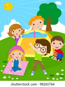 kids and tent