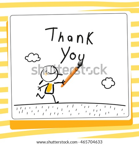 Kids Thank You Card Vector Illustration Stock Vector Royalty Free