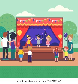 Kids theater performance show on scene with red curtains and fairy tale castle scenery. Public park theater festival for a group of people. Modern flat style vector illustration cartoon clipart.