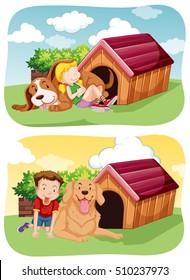 Kids with their pet dog in garden illustration