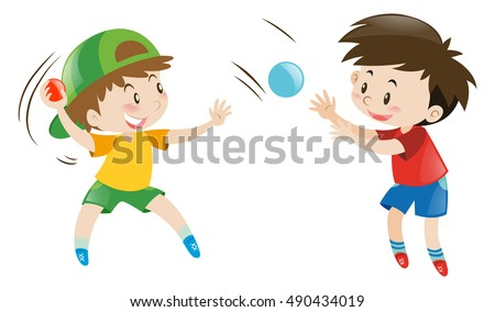 Kids Throwing Ball Each Other Stock Vector Royalty Free