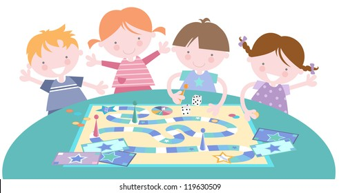 Kids Together Playing Board Game