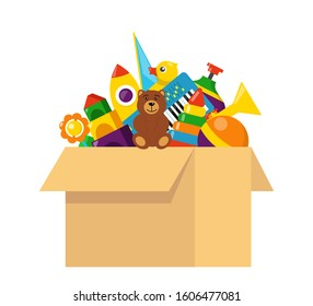 Kids toy box full of toys. Cubes, whirligig, duck, ball rattle, pyramid, pipe, bear, ball, rocket, tambourine, boat. Modern flat style vector illustration.