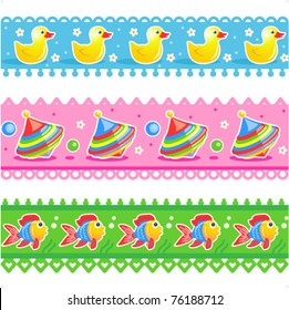 Kids toys borders vector seamless patterns ( for high res JPEG or TIFF see image 76188709 )