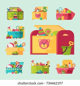 Kids toys box vector collection. Baby container with toyshop icons teddy bear child play in baby-room set illustration.
