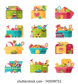 Kids toys box vector collection. Baby container with toyshop icons teddy bear child play in baby room set illustration.