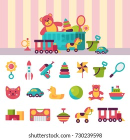 Kids toys box vector illustration set collection. Baby container with toyshop icons teddy bear child play in baby room