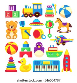 Kids toys cartoon vector icons collection.