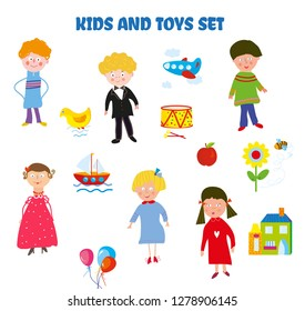 Kids and toys funny set in cute style. Vector graphic illustration