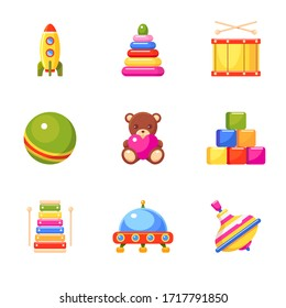 Kid's toys icon set. Ball, pyramid, rocket, xylophone, toy blocks, drum, ufo, whirligig and bear. Collection for small children.