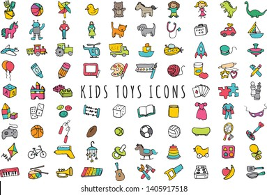 Kids Toys Icons - Hand Drawn Set of Toddler, Kids and Baby Clipart Illustrations