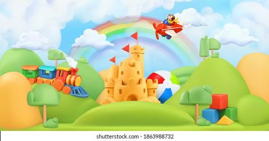 Kids toys landscape. 3d vector background. Plasticine art illustration