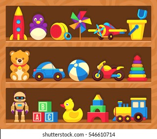 Kids toys on wood shop shelves.