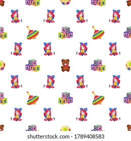 Kids toys. Seamless pattern children playthings doll, whirligig and bear on white background, childish texture for nursery wallpaper, fabrics and wrapping paper, vector illustration isolated on white
