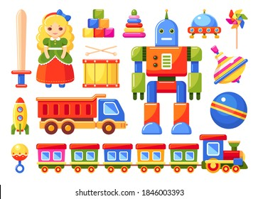 Kids toys set with train, robot, truck, rocket, doll, ball, drum, pinwheel, toy blocks, rattle, whirligig, ufo, pyramid and sword. Vector colorful illustration