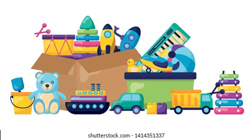 kids toys storage box rocket drum ball bear bucket car truck xylophone vector illustration