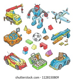Kids toys vector cartoon boyish games in playroom and playing with car or children blocks illustration isometric set of teddy bear and plane or robot for boys isolated on white background
