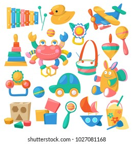 Kids toys vector cartoon games for children in playroom and playing with duck car or colorful blocks illustration set isolated on white background