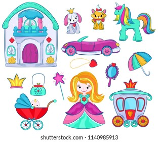 Kids toys vector cartoon girlie games for children in playroom and playing with childish car or girlish doll stroller and princess illustration set of unicorn or dog isolated on white background
