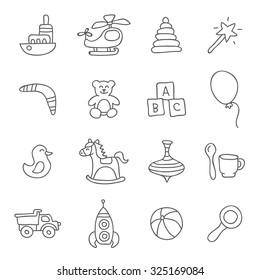 Kids toys. Vector icons, hand-drawn.