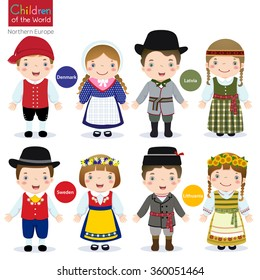 Kids in traditional costume (Denmark, Latvia, Sweden and Lithuania)