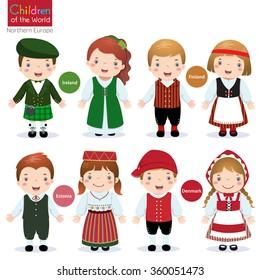 Kids in traditional costume (Ireland, Finland, Estonia and Denmark)