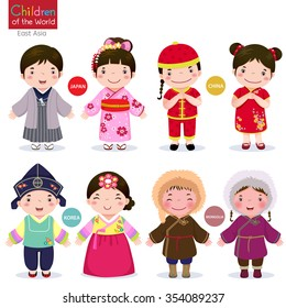 Kids in traditional costume; Japan, China, Korea and Mongolia