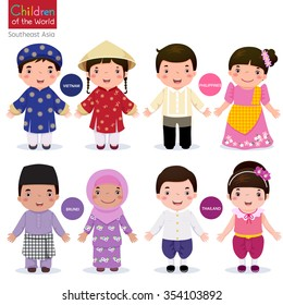 Kids in traditional costume; Vietnam, Philippines, Brunei, and Thailand