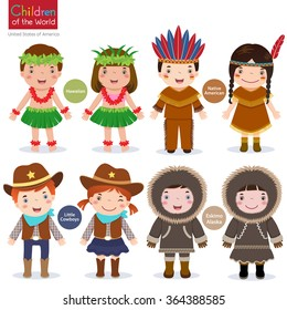 Kids in traditional costume-USA-Hawaiian-Native American-Cowboys-Eskimo