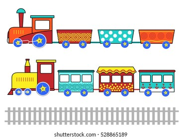 Kids train. Cartoon vector set