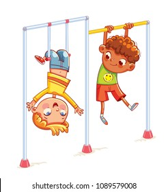 Kids train on horizontal bars. Little boy playing on the horizontal bar. Playground. Place for games. sport, fitness, exercising. Funny cartoon character. Vector illustration. Isolated on white