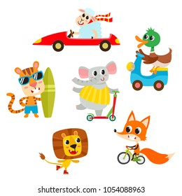 Kids transport collection with cute cartoon animals isolated on white. Vector illustration of animal character used for magazine, children book, poster and card.