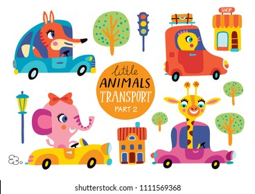 Kids transport set with cute little animals. Part 2. Vector illustration on a white background.  Funny cars.
