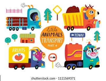 Kids transport set with cute little animals. Part 4. Vector illustration on a white background.  Timber truck, dump truck, van, petrol tanker.