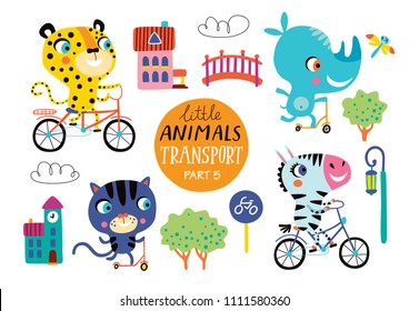 Kids transport set with cute little animals. Part 5. Vector illustration on a white background.  Zebra, cat, leopard and rhino ride bikes and scooters.