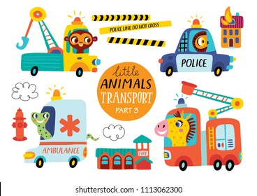 Kids transport set with cute little animals. Part 3. Vector illustration on a white background.  Police car, ambulance, tow truck, fire engine.