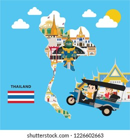 Kids travel to Bangkok, Thailand. flat design