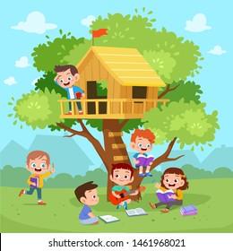 kids tree house vector illustration