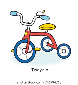Kids tricycle isolated.